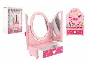 Zrcadlo šperkovnice Princess 3-dílné zásuvka dřevo 16x25x8cm v krabici