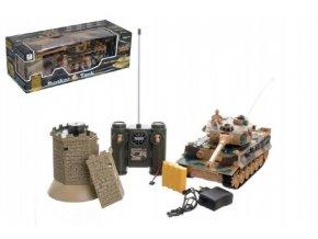 Tank RC 35cm+bunkr na bat. plast s dobíjecím packem se zvukem se světlem 40MHz v krabici 51x17x19cm