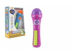 Mikrofon s nahranými písničkami plast 25cm 2 barvy na baterie se zvukem v krabici 19x27x6cm