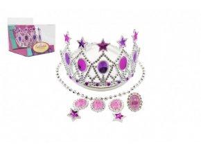 Sada krásy korunka,náušnice,náhrdelník plast v krabičce 15x12x16cm karneval