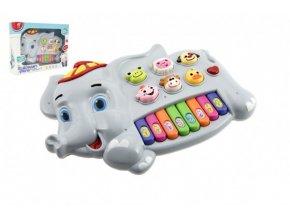 Pianko slon se zvířátky plast 28cm na baterie se zvukem se světlem v krabici 32x23x6cm