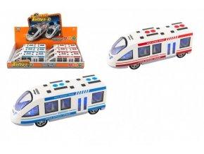 Metro/vlak/tramvaj plast 21cm na baterie se světlem se zvukem 2 barvy na setrvačník