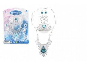 Sada krásy plast korunka, náhrdelník, naušnice na kartě 18x25cm