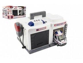Garáž + auto ambulance 15 cm plast na baterie se světlem se  zvukem v krabici 37x20x24,5cm