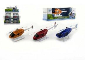 Vrtulník/Helikoptéra kov/plast 10cm asst 3 barvy v krabičce