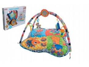 Hrací podložka/Hrazda pro děti a chrastítky plyš/plast v krabici 62x46x8cm 0m+