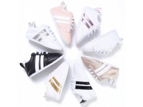 Baby Shoes Pu Leather Shoes Sports Sneakers Newborn Baby Boys Girls Stripe Pattern Shoes Infant Toddler 1