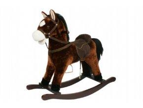 Kůň houpací hnědý plyš výška 71cm nosnost 50kg v krabici 62x56x19cm