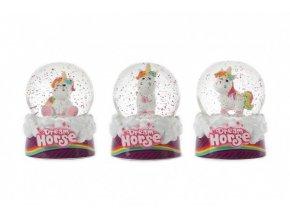 Sněhová koule/Těžítko jednorožec kůň 7cm 3 druhy v krabičce 11x13x11cm