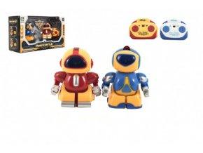 Mini roboti bojovníci RC 2ks plast 8cm na baterie se světlem v krabičce 24,5x14x9cm