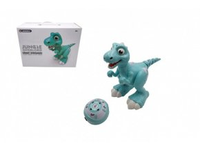 Dinosaurus RC chodící a tancující plast 30cm na baterie se světlem se zvukem v krabici 40x30x17cm