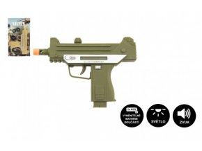 Pistole samopal plast 17,5cm na baterie se zvukem se světlem 2 barvy na kartě