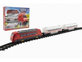 Vlak s kolejemi 17ks plast na baterie se zvukem se světlem v krabici 40x30x7cm