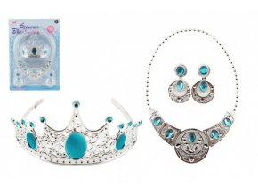 Sada krásy plast korunka + náhrdelník + naušnice na kartě 20x28cm