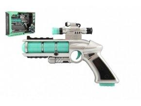 Pistole se zaměřovačem plast 20cm na baterie se zvukem a se světlem v krabici