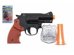 Pistole policejní 15cm plast s odznakem + přísavky 2ks na kartě