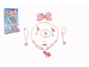 Sada krásy jednorožec náušnice,náhrdelník,sponky do vlasů, prstýnky 2ks plast v krabičce 17,5x25x4cm