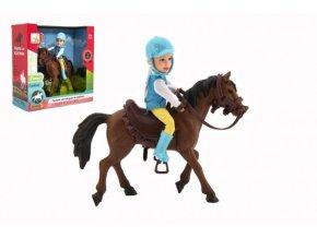 Kůň + panenka/panáček žokej plast 20cm v krabici 23x23x9,5cm