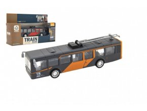 Autobus/trolejbus kov/plast 16cm na zpětný chod na bat. se světl. se zvukem 2 barvy v krab. 22x12x6