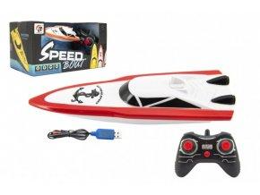 Motorový člun/loď do vody RC plast 19cm na baterie+dobíjecí pack+USB 2,4Ghz v krabici 26x13x15cm