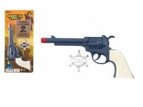 Pistole revolver klapací plast 23x12cm s šerifským odznakem na kartě