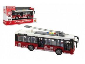 Autobus/trolejbus plast 28cm na setrvačník na bat. se světlem se zvukem v krabici 32x17x11cm