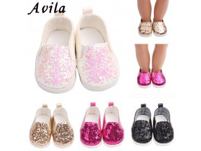 Sequins sports boots 7cm shoes Fits 18 inch Doll 43CM Dolls Reborn Baby Doll shoes for 1