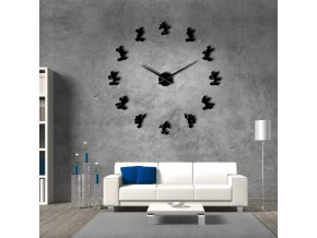 Mickey Design DIY Giant Wall Clock Cartoon Kid Room Wall Decor DIY Hanging Wall Watch Mirror Black