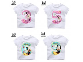 Kid Happy Birthday Number 1 9th Cartoon Mouse Number Print T shirts Boy and Girl Number 1
