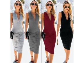 2019 New Summer Women Dress Black Casual Sexy Deep V Neck Sleeveless Elegant Draped Stretchy Midi 1