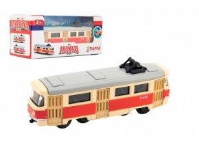 Tramvaj Tatra T3 česká kovová retro 8cm v krabičce 10,5x5x5cm