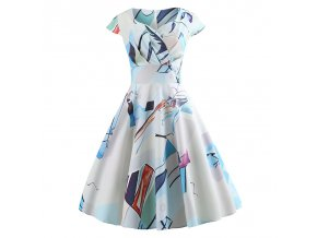 Casual Summer Dress Women Short Sleeve Hepburn 50s 60s Vintage Elegant Swing Party Dresses Plus Size 008