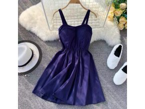 Marwin 2019 New Coming Summer Solid Knee Length Spaghetti Strap Strapless Dresses High Street Empire Style Bule Purple