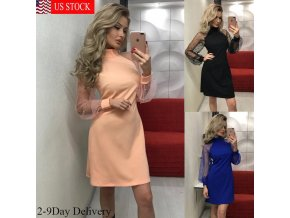 HIRIGIN Sexy Dress 2018 New Womens Lace Long Mesh Sleeve Dress Vestidos Bodycon Bandage Evening Party 1