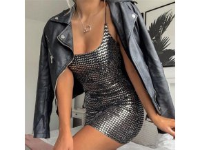Toplook Sequin women dress sexy high waist 2019 women fashion club party reflective bodycon mini dress 1