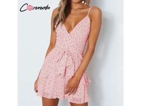 Conmoto Polka Dot Pink Summer 2019 Dress Women Ruffles Chiffhon Beach Female Dresses Spaghetti Strap Sexy 1