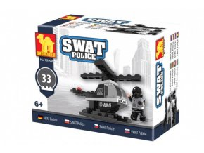 Stavebnice Dromader Swat policie vrtulník 32 dílků v krabičce 10x7x4,5cm
