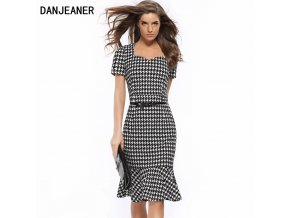 Danjeaner 2017 New Women Vintage V neck Pencil Party Dress Fashion Elegant Mermaid Dress Women Plus 1