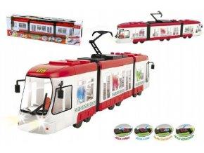 Tramvaj červená plast 43cm na baterie česky mluvící se světlem v krabici