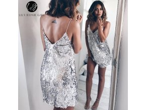 Deep V Neck Silver Sequined Backless Sexy Dress Women Off Shoulder Mini Dress Short Christmas Party 1