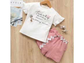 Bear Leader 2019 New Summer Casual Children Sets Flowers Blue T shirt Pants Girls Clothing Sets pink ax695