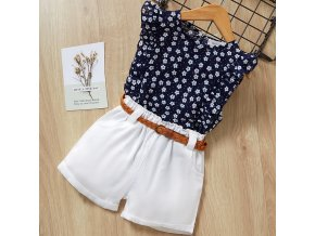 Girls Suits 2019 Summer Style Kids Beautiful Floral Flower Sleeve Children O neck Clothing Shorts Suit 3