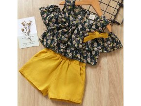 Girls Suits 2019 Summer Style Kids Beautiful Floral Flower Sleeve Children O neck Clothing Shorts Suit AZ1584Green