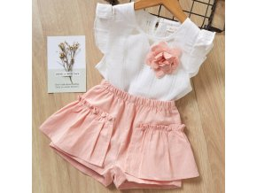 Girls Suits 2019 Summer Style Kids Beautiful Floral Flower Sleeve Children O neck Clothing Shorts Suit AZ780Pink