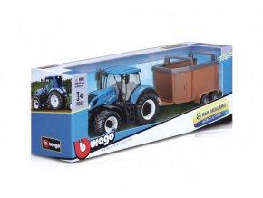 Traktor Bburago New Holland s vlekem kov/plast