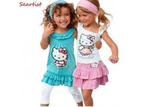 Seartist Baby Girl Clothes Baby Girls Hello Kitty Dress Children 3Pcs Sets Headband Dress Pants Bebes 1