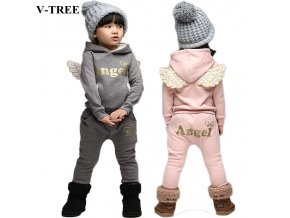 V TREE Children Clothing Set Fleece Sports Suit For Boy Winter Toddler Suits For Girls Wings 1
