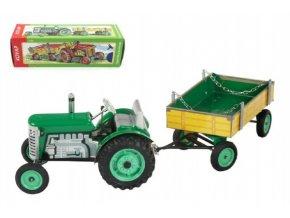 Traktor Zetor s valníkem zelený na klíček kov 28cm Kovap v krabičce
