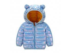Péřová lesklá dětská zimní bunda s kapucí