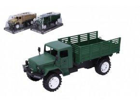 Auto vojenské nákladní plast 27cm na setrvačník 2 barvy v blistru 14x32x13cm